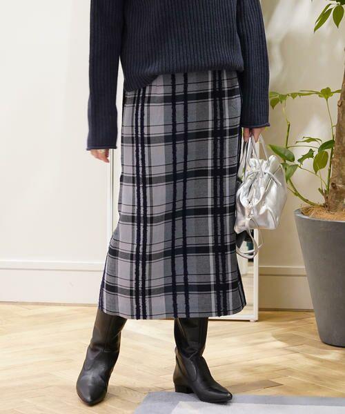 TOMORROWLAND / トゥモローランド ミニ・ひざ丈スカート | リングエフェクトチェック Iラインスカート(66 ブルー系)