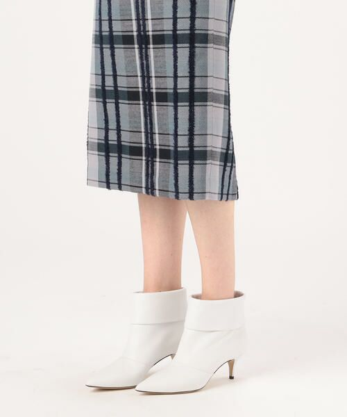 TOMORROWLAND / トゥモローランド ミニ・ひざ丈スカート | リングエフェクトチェック Iラインスカート | 詳細10