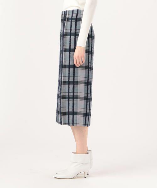 TOMORROWLAND / トゥモローランド ミニ・ひざ丈スカート | リングエフェクトチェック Iラインスカート | 詳細5