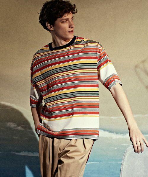 TOMORROWLAND / トゥモローランド Tシャツ   カラフルボーダー ビッグニットTシャツ tricot-T(14 グレー系)