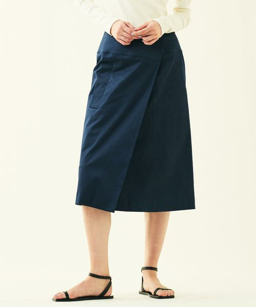 TOMORROWLAND / トゥモローランド ミニ・ひざ丈スカート | コットンサテン ラップスカート(69 ネイビー)
