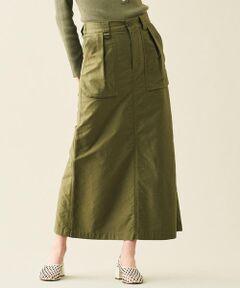 甘撚りの超長綿糸で織り上げることで絶妙な光沢を表現した上質なモールスキン素材のシリーズ。<br>薄手ながらもほど良いハリがありシルエットを美しく演出してくれます。<br>スカートはミリタリーテイストのデザインでカジュアルな印象ながら、裾に向かって緩やかに広がるマーメイドシルエットやバックに入れた深めのスリットで女性らしさをプラスしました。<br>両サイドに配した大きなポケットがアクセントに。<br>バックウエストのゴムギャザーで穿き心地も良く、デイリーに活躍してくれます。<br>シンプルなトップスを合わせるだけ決まる、大人のカジュアルスタイルにおすすめのアイテムです。<br><br>2020SS商品<br><br><b>店舗にお問い合わせの際は、下記の商品番号をお申し付けください。<br>商品番号:12-05-01-05130</b>