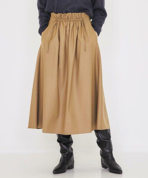 TOMORROWLAND / トゥモローランド ロング・マキシ丈スカート | ウールサキソニー フロントギャザースカート(45 キャメル)