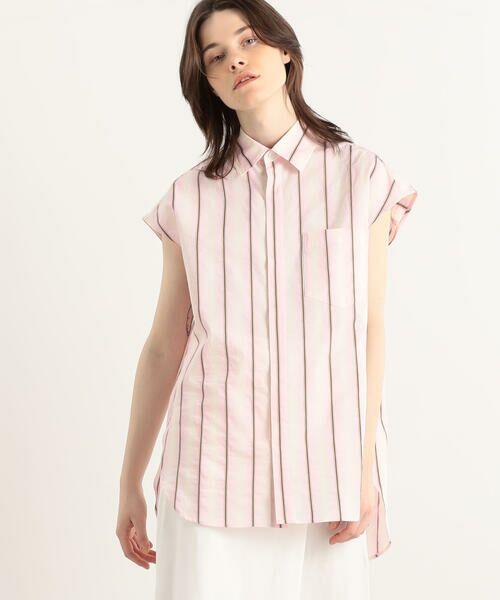 TOMORROWLAND / トゥモローランド シャツ・ブラウス | オンブレストライプ フレンチスリーブシャツ(32 ピンク系)