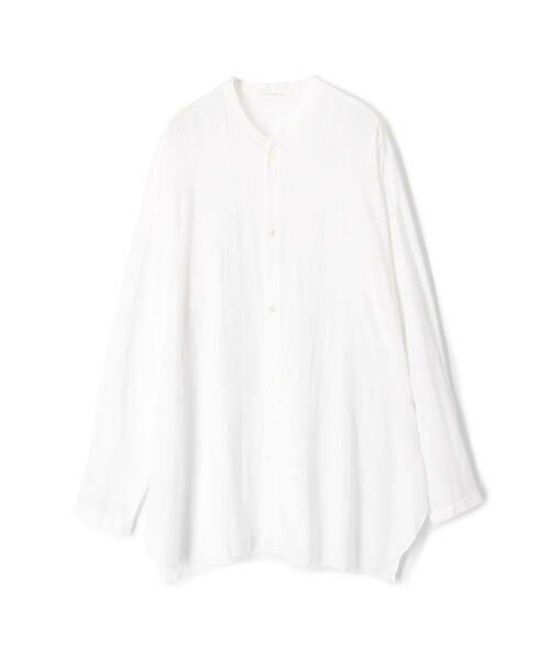 TOMORROWLAND / トゥモローランド シャツ・ブラウス | ウォッシャブルレーヨン ノーカラーシャツ(11 ホワイト)