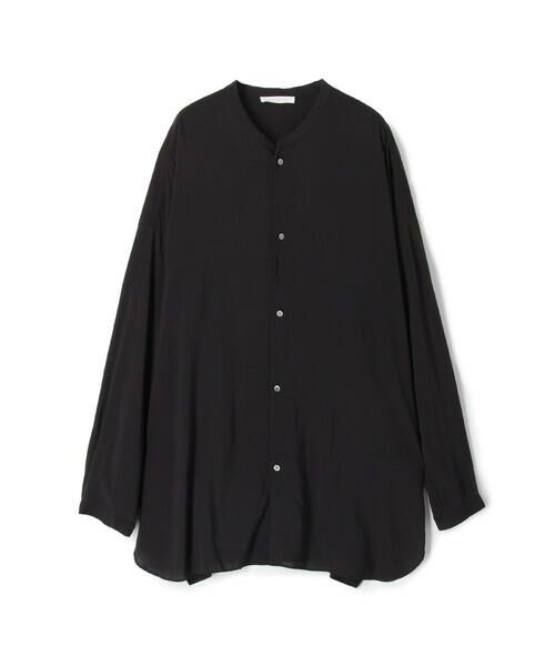 TOMORROWLAND / トゥモローランド シャツ・ブラウス | ウォッシャブルレーヨン ノーカラーシャツ(19 ブラック)