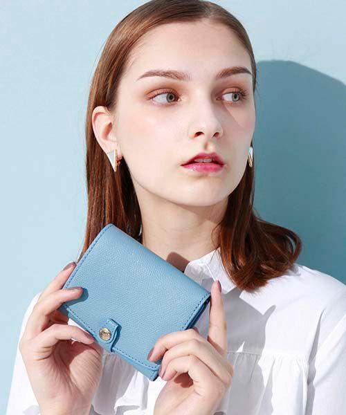 TOPKAPI / トプカピ 財布・コインケース・マネークリップ | 角シボ型押し・折り財布(ブルーグレー)