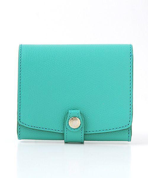 TOPKAPI / トプカピ 財布・コインケース・マネークリップ | 角シボ型押し・折り財布(ミントグリーン)