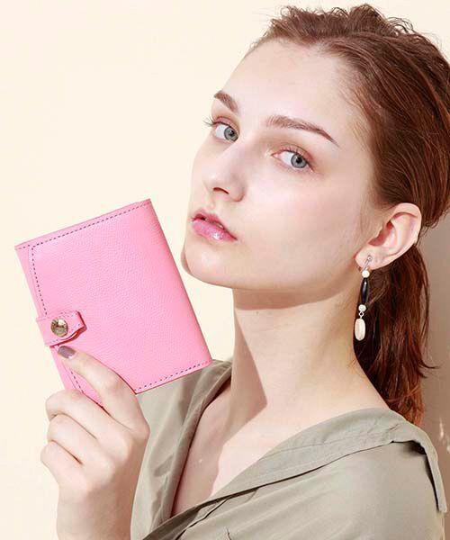 TOPKAPI / トプカピ 財布・コインケース・マネークリップ | 角シボ型押し・折り財布(フラミンゴピンク)