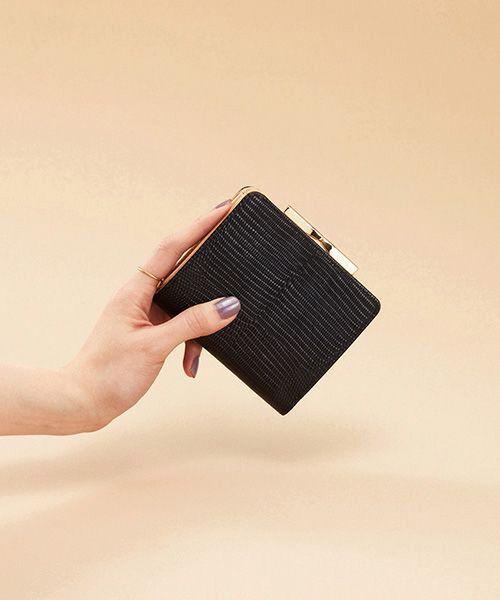 TOPKAPI / トプカピ 財布・コインケース・マネークリップ | イタリアンレザー・リザード型押し・がま口2つ折り財布(ブラック)