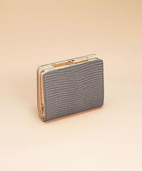 TOPKAPI / トプカピ 財布・コインケース・マネークリップ | イタリアンレザー・リザード型押し・がま口2つ折り財布(ミディアムグレー)