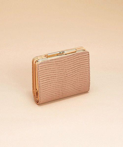 TOPKAPI / トプカピ 財布・コインケース・マネークリップ | イタリアンレザー・リザード型押し・がま口2つ折り財布(グレージュ)