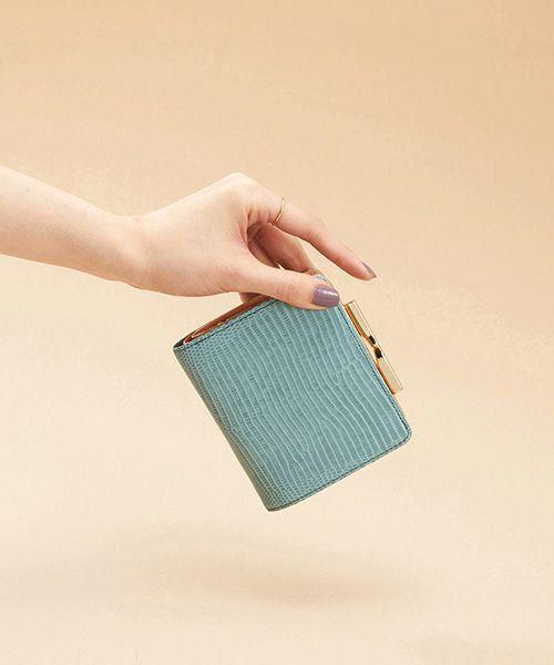 TOPKAPI / トプカピ 財布・コインケース・マネークリップ | イタリアンレザー・リザード型押し・がま口2つ折り財布(ミントグリーン)