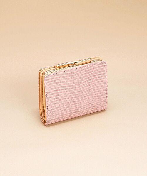TOPKAPI / トプカピ 財布・コインケース・マネークリップ | イタリアンレザー・リザード型押し・がま口2つ折り財布(ピンクグレー)