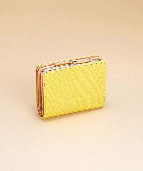 TOPKAPI / トプカピ 財布・コインケース・マネークリップ | イタリアンレザー・リザード型押し・がま口2つ折り財布(イエロー)