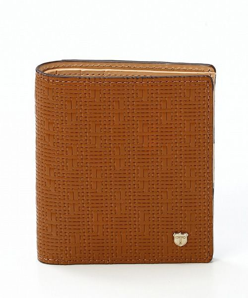 TOPKAPI / トプカピ 財布・コインケース・マネークリップ | RITMO[リトモ]メッシュ柄型押し・二つ折りミニ財布(キャメル)