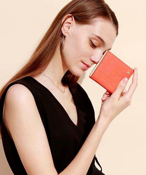 TOPKAPI / トプカピ 財布・コインケース・マネークリップ | RITMO[リトモ]メッシュ柄型押し・二つ折りミニ財布(コーラルオレンジ)
