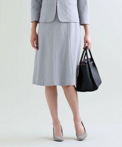 【セットアップ対応】【XSサイズ〜】【美Skirt】【吸水速乾】【ウォッシャブル】コーコランカノコスカート<br /><br />お腹周りをすっきりとさせて裾に向かって優しいフレアー感のある8枚接ぎミディレングススカートです。ベーシックカラーでの展開なので、セットアップはもちろん単品でもコーディネートしやすいアイテムになっています。<br />イタリアのALBINI社が生産している30/1番手の超長綿を日本で編み上げ、仕上げした素材です。上質な微光沢がありタッチの良い素材感に仕上がっています。ポリエステルを交編し後加工によって吸水速乾機能を付加しています。カノコ組織ですので表面感があり清涼感のある素材となっています。<br /><br />【美シリーズ】<br />・バックスタイルに自信が持てる!<br />・ヒップポイントを高めにすることで、ヒップから脚にかけてのS字ラインを美しく表現<br />・脇線の位置を通常より後ろにすることでヒップを小さく見せてくれる視覚効果もあります<br /><br />▼セットアップジャケット U1E04324<br />▼セットアップジャケット U1E05324<br /><br />【着用推奨シーズン】春〜秋<br /><br />モデル(下部ディテール画像):H 170 B 78 W 54 H 84 着用サイズ: 38