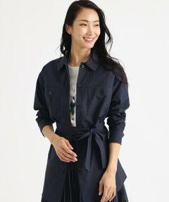 【UV対策】【ウォッシャブル】ヴィンテージグログランシャツ<br /><br />襟付きのデザインなのできちんとした印象をもちながらもTシャツ、タンクトップに気軽に羽織れる軽量アイテムです。<br />取り外し可能な共地のベルト付きです。<br /><br />素材はタテ糸に80番手の綿とナイロンを使用することで細いヨコ畝の表情が出る組織です。高密度でハリ感のある風合いと薄手で程よい透け感が特長です。ふわっとエアリーな感覚が旬な素材です。<br />アームホールには抗菌・消臭テープを附属しています。<br /><br /><br />【着用推奨シーズン】春~秋<br /><br />モデル(下部ディテール画像):H 168 B 76 W 58 H 86 着用サイズ:38