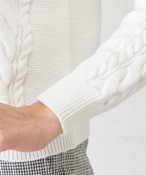 un dix cors / アンディコール ニット・セーター | ケーブル編みVネックニット | 詳細10