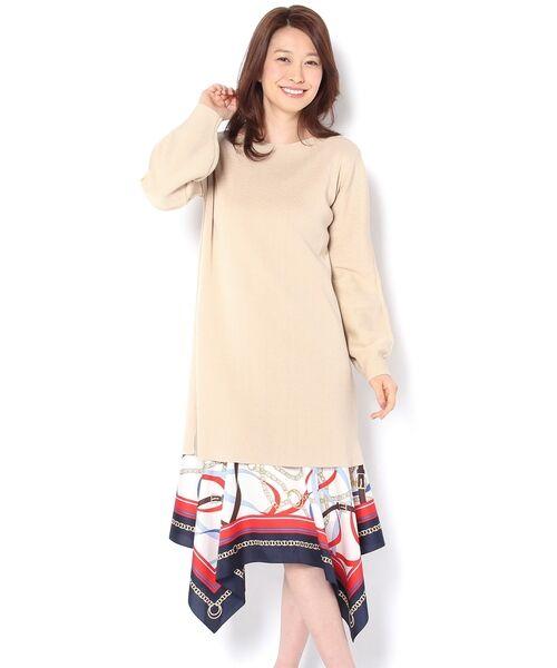 un dix cors / アンディコール ミニ丈・ひざ丈ワンピース | 裾スカーフニットワンピース | 詳細1