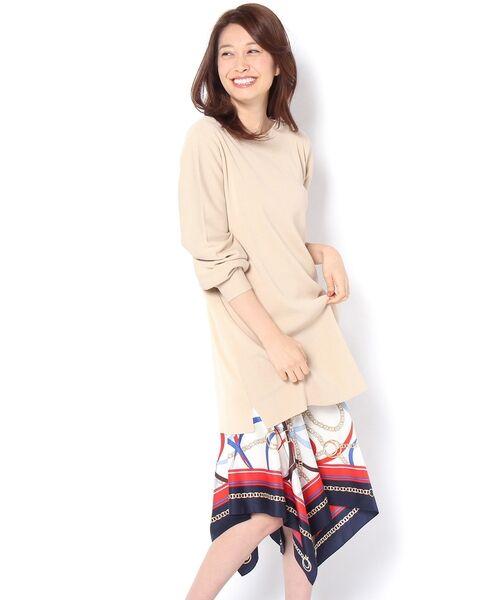 un dix cors / アンディコール ミニ丈・ひざ丈ワンピース | 裾スカーフニットワンピース(ベージュ)