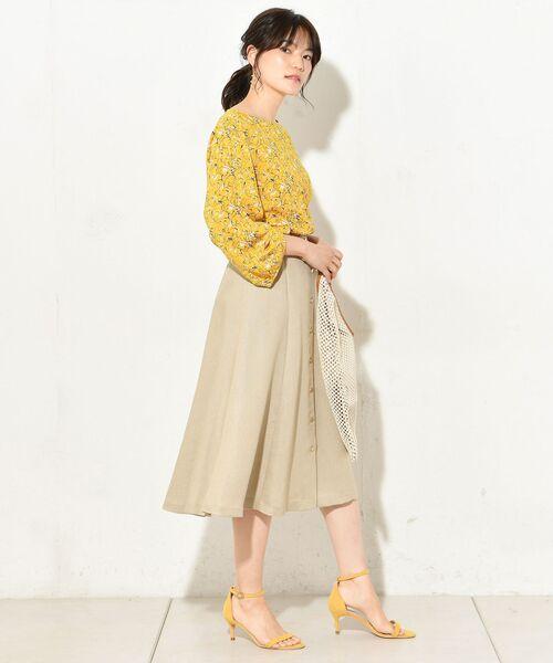 un dix cors / アンディコール デニムスカート   リネンタッチフロント釦スカート   詳細1