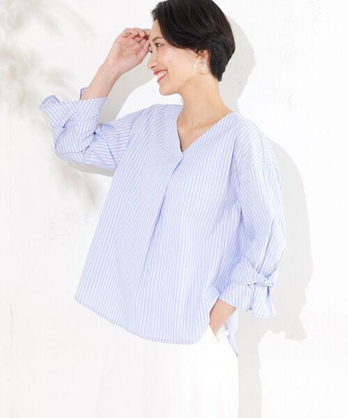 un dix cors / アンディコール シャツ・ブラウス   【手洗い可】ブライトブロードストライプシャツ(ブルー)