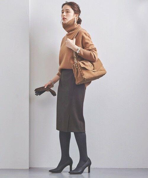 UNITED ARROWS / ユナイテッドアローズ ミニ・ひざ丈スカート | UBCB サイドベント タイトスカート(DK.BROWN)