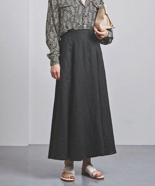 UNITED ARROWS / ユナイテッドアローズ ロング・マキシ丈スカート   UWCS リネン マキシスカート(BLACK)