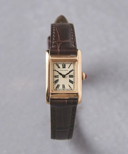UNITED ARROWS / ユナイテッドアローズ 腕時計 | UBCB スクエア レザー 腕時計 GLD†(DK.BROWN)
