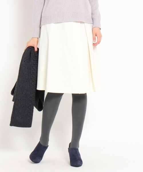 [L]ラメ混サキソニータックフレアスカート