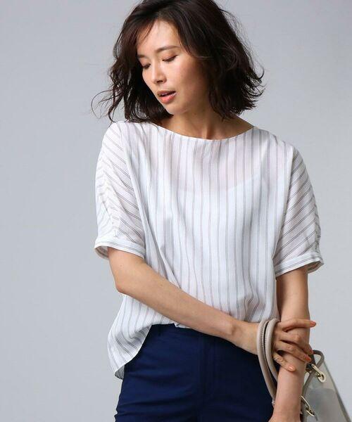 UNTITLED / アンタイトル シャツ・ブラウス   [L]【洗える】クルーズストライプスクエアシャツ(オフホワイト(103))