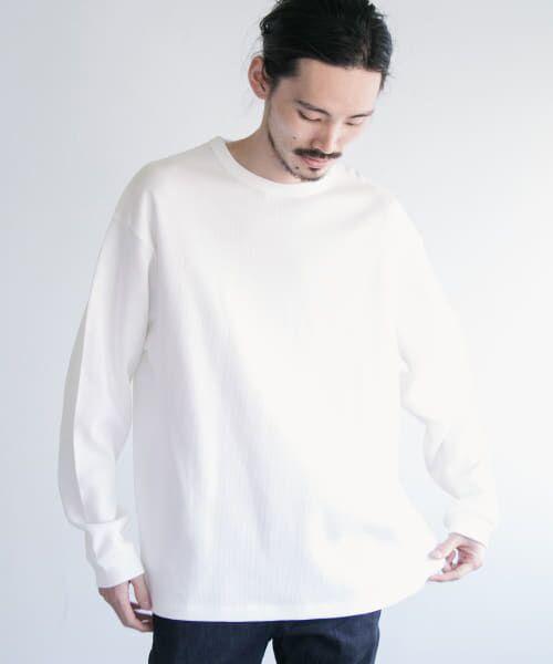 URBAN RESEARCH / アーバンリサーチ Tシャツ   ロングスリーブ度詰めワッフルルーズクルーネック(white)