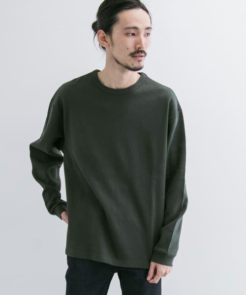 URBAN RESEARCH / アーバンリサーチ Tシャツ   ロングスリーブ度詰めワッフルルーズクルーネック(ink/bk)