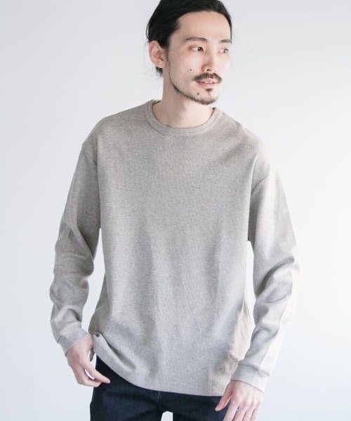 URBAN RESEARCH / アーバンリサーチ Tシャツ   ロングスリーブ度詰めワッフルルーズクルーネック(gray)