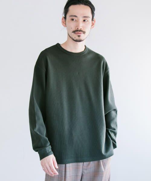 URBAN RESEARCH / アーバンリサーチ Tシャツ   ロングスリーブ度詰めワッフルルーズクルーネック(d/green)