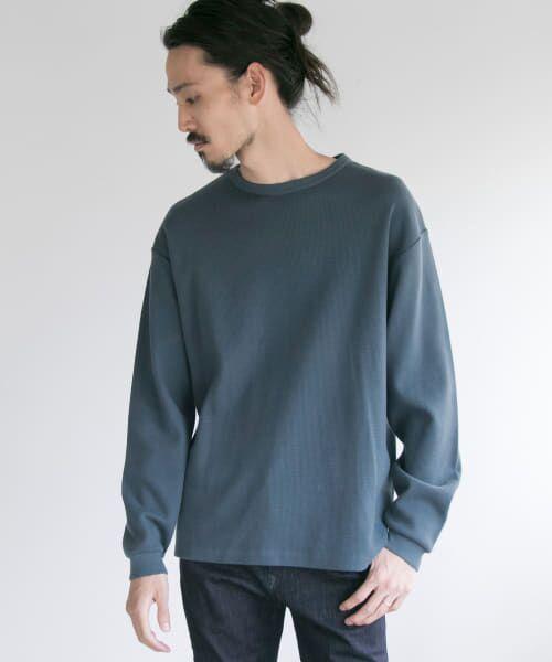 URBAN RESEARCH / アーバンリサーチ Tシャツ   ロングスリーブ度詰めワッフルルーズクルーネック(S/NAVY)