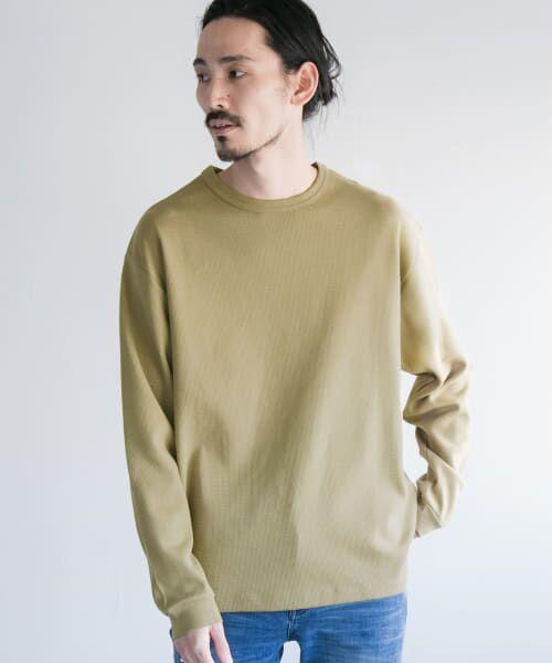 URBAN RESEARCH / アーバンリサーチ Tシャツ   ロングスリーブ度詰めワッフルルーズクルーネック(l/khaki)