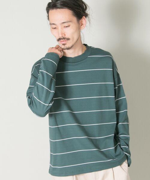URBAN RESEARCH / アーバンリサーチ Tシャツ | ボーダーバルーンロングスリーブTシャツ(TEAL)
