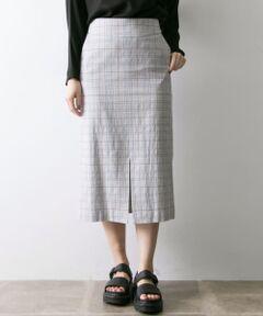 """<strong style=""""font-weight:bold;"""">【ディテールにこだわり、女性らしさを追求した魅惑のスカート】</strong><br>ハイウエスト、ひざ下長めに設定した大人っぽいタイトスカート。グレーベースにブルーとレッドのラインを入れたオリジナル配色のグレンチェック柄。秋冬に続き、トレンドのチェック柄を春らしいネップ入りのコットン素材で作りました。またウエストベストをラウンドさせ、お腹周りを抑えることで、よりスッキリしたシルエットを演出しました。同素材でジャケット(品番:UR84-27C006)、パンツ(品番:UR84-24C002)もございます。<br><br><strong style=""""font-weight:bold;"""">POINT</strong><br>・セットアップで着用可能<br>・コットンを使用し軽やかな着心地を実現 <br><br><strong style=""""font-weight:bold;"""">COORDINATE</strong><br>カジュアルみえするスウェットやカットソーに合わせたり、ジャケットとセットアップで着用するのもオススメ◎幅広いスタイリングが楽しめる大人の1枚です。<br><br>※伸縮性あり <br>※この商品は、素材には、機能性に富んだ伸縮性(ストレッチ性)のある生地を使用しています。 <br>素材の特性上、湿気や日光(紫外線)の影響を受けたり、長期の使用による経年変化で、伸びが生じることがありますので、ご注意ください。 <br>※この商品は、素材の性質上、強い力などがかかると縫い目が開いたり、目寄れがおこることがありますので、お取り扱いの際はご注意ください。 <br>※その他お取り扱いに関しましては、商品に付属のアテンションタグをご確認の上、充分ご注意ください。"""
