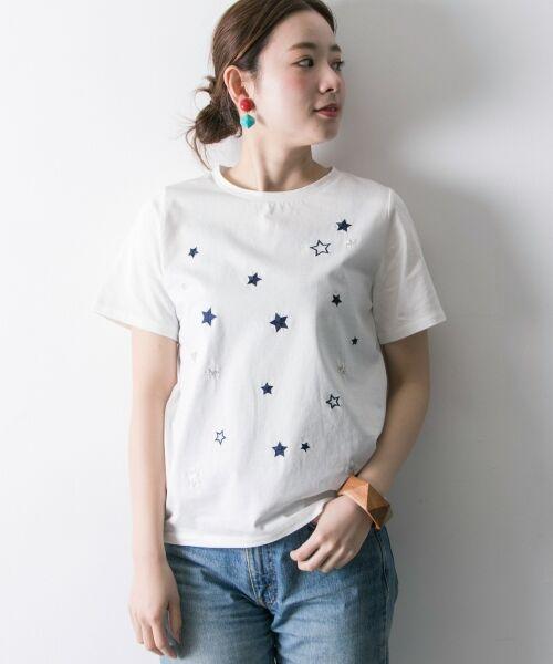 URBAN RESEARCH / アーバンリサーチ Tシャツ   ランダムスター刺繍Tシャツ(OFF系)