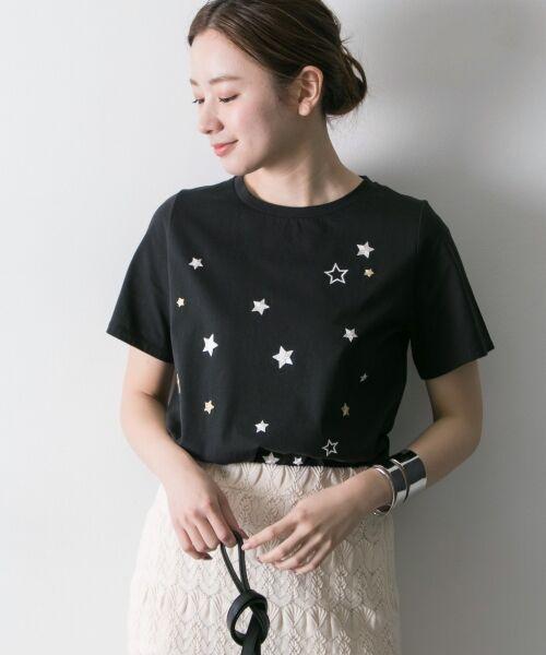 URBAN RESEARCH / アーバンリサーチ Tシャツ   ランダムスター刺繍Tシャツ(BLACK系)