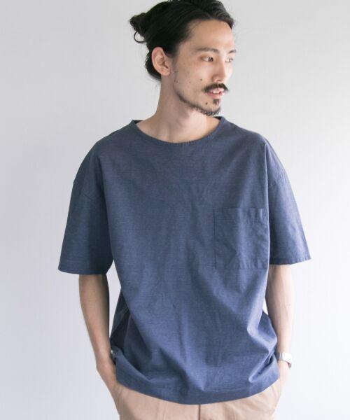 URBAN RESEARCH / アーバンリサーチ Tシャツ | ペーパー天竺シャツTシャツ(fade/navy)