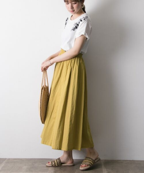 URBAN RESEARCH / アーバンリサーチ スカート   【再入荷】リバーシブル2wayギャザースカート(YEL×KHK)