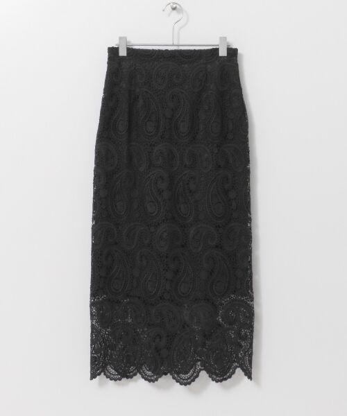 URBAN RESEARCH / アーバンリサーチ スカート | CELFORD ペイズリーレースタイトスカート(BLK)
