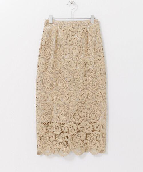URBAN RESEARCH / アーバンリサーチ スカート | CELFORD ペイズリーレースタイトスカート(BEG)