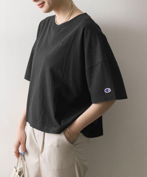 URBAN RESEARCH / アーバンリサーチ Tシャツ | Champion×URBAN RESEARCH ウォッシュドジャージーワイドTシャツ(ブラック)