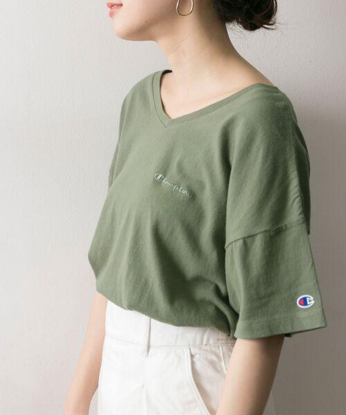 URBAN RESEARCH / アーバンリサーチ Tシャツ | Champion×URBAN RESEARCH ソフトコットン刺繍ロゴVネックTシャツ | 詳細7