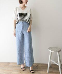 """<strong style=""""font-weight:bold;"""">【暑い夏も涼しく乗り越えられるマストハブアイテム】</strong><br>リネン100%の甘織りデニムを使用することで、リネンならではの清涼感、軽やかさ、くたっとしたカジュアルな抜け感を演出。夏の暑い時期にも肌にまとわりつかずストレスなく着用いただけます。同シリーズでスカート(品番:UR95-24C008)もございます。 <br><br><strong style=""""font-weight:bold;"""">POINT</strong><br>・ワインを拾わないワイドシルエット<br>・軽やかな履き心地<br>・ご自宅でハンドウォッシュが可能 <br><br><strong style=""""font-weight:bold;"""">COORDINATE</strong><br>カジュアルなカットソーからきれいめブラウス、柄物トップスなどスタイルを選ばずお召しいただけます。<br><br>※この商品(L.BLUE)は、長時間強い日光や照明を受けますと、変色する恐れがあります。ご着用や保管の際は、充分にご注意ください。 <br>※この商品は、インディゴ染めです。 <br>染料の特性上、着用中の摩擦や汗などにより他の衣類や下着、淡い色のベルトやカバン、ソファーなどに色移りすることがあるので、コーディネートやお取り扱いにご注意ください。 <br>※その他お取り扱いに関しましては、商品に付属のアテンションタグをご覧ください。"""